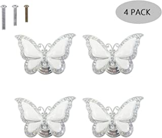 ZILucky Butterfly Drawer knobs Garden Nature Insect Style Theme Home Decor Drawer Pulls Handles for Dresser Cupboard Wardrobe Cabinet Kitchen Knobs Pack of 4 (White)