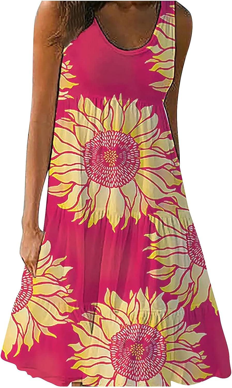 Summer Dresses for Women 2021, Women's Printed A-line Skirt Pullover O-Neck Tank Top Dress Sundress Cocktail Dresses bo