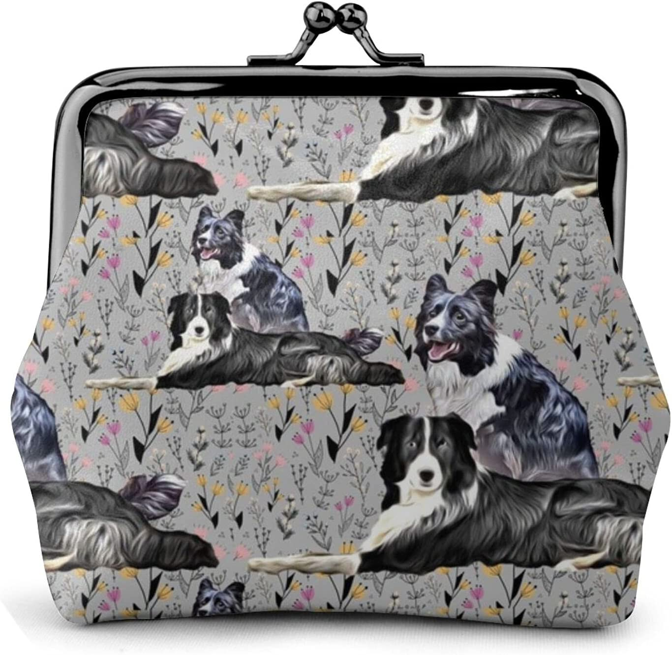 Border Collies D 866 Leather Coin Purse Kiss Lock Change Pouch Vintage Clasp Closure Buckle Wallet Small Women Gift