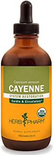 Herb Pharm Certified Organic Cayenne Liquid Extract for Cardiovascular and Circulatory Support - 4 Ounce, Brown