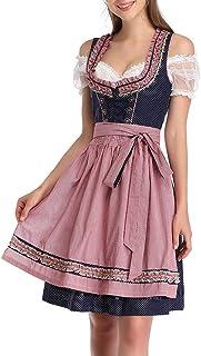KOJOOIN Trachtenkleid Damen Dirndl Kurz Set - Midi Trachtenkleid 3tlg. Dirndlbluse für Oktoberfest - DREI Teilig: Kleid, Bluse, Schürze