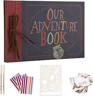 AIOR Album Photo Traditionnel Vintage DIY Scrapbooking Livre Photo Voyage, Our Adventure Book Up Scrapbook, Cadeau Origina...