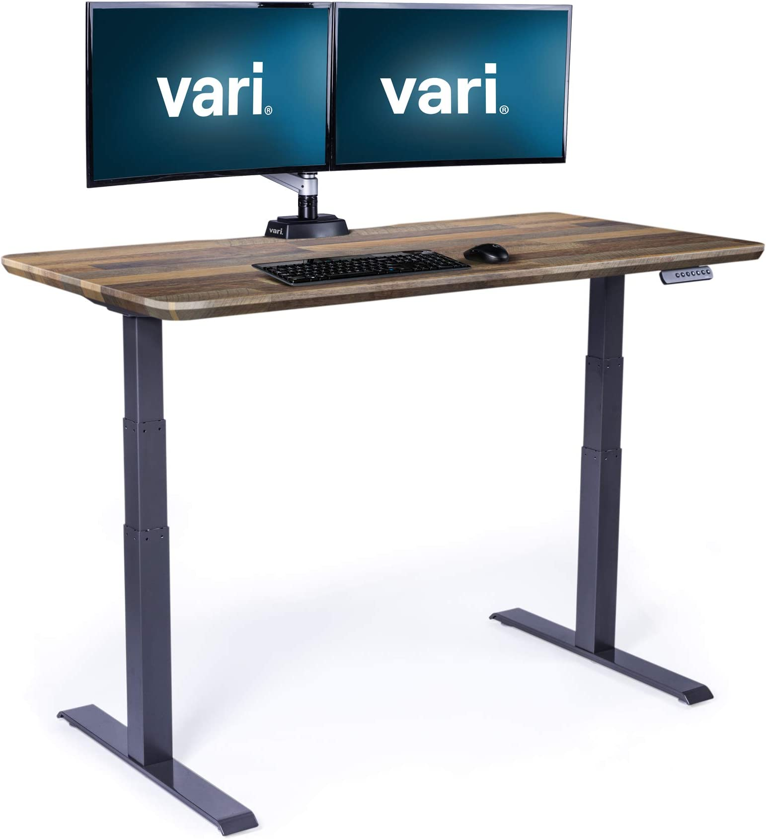 """Vari Electric Standing Desk 60"""" x 30"""" - Dual Motor Sit to Stand Desk - Push Button Memory Settings - Solid Top with 3-Stage Adjustable Steel Legs - Work or Home Office Desk"""