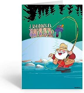 Fly Fishing Santa Christmas Card 18 Cards and Envelopes