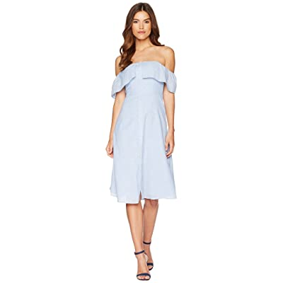 BB Dakota Jeanne Pinstripe Off the Shoulder Dress (Light Blue) Women