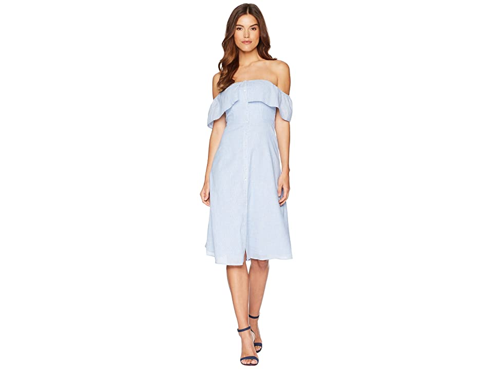 BB Dakota Jeanne Pinstripe Off the Shoulder Dress (Light Blue) Women