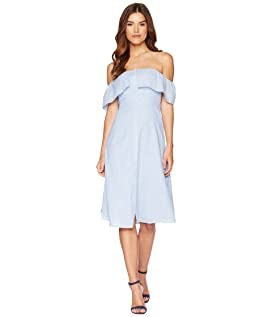 Jeanne Pinstripe Off the Shoulder Dress