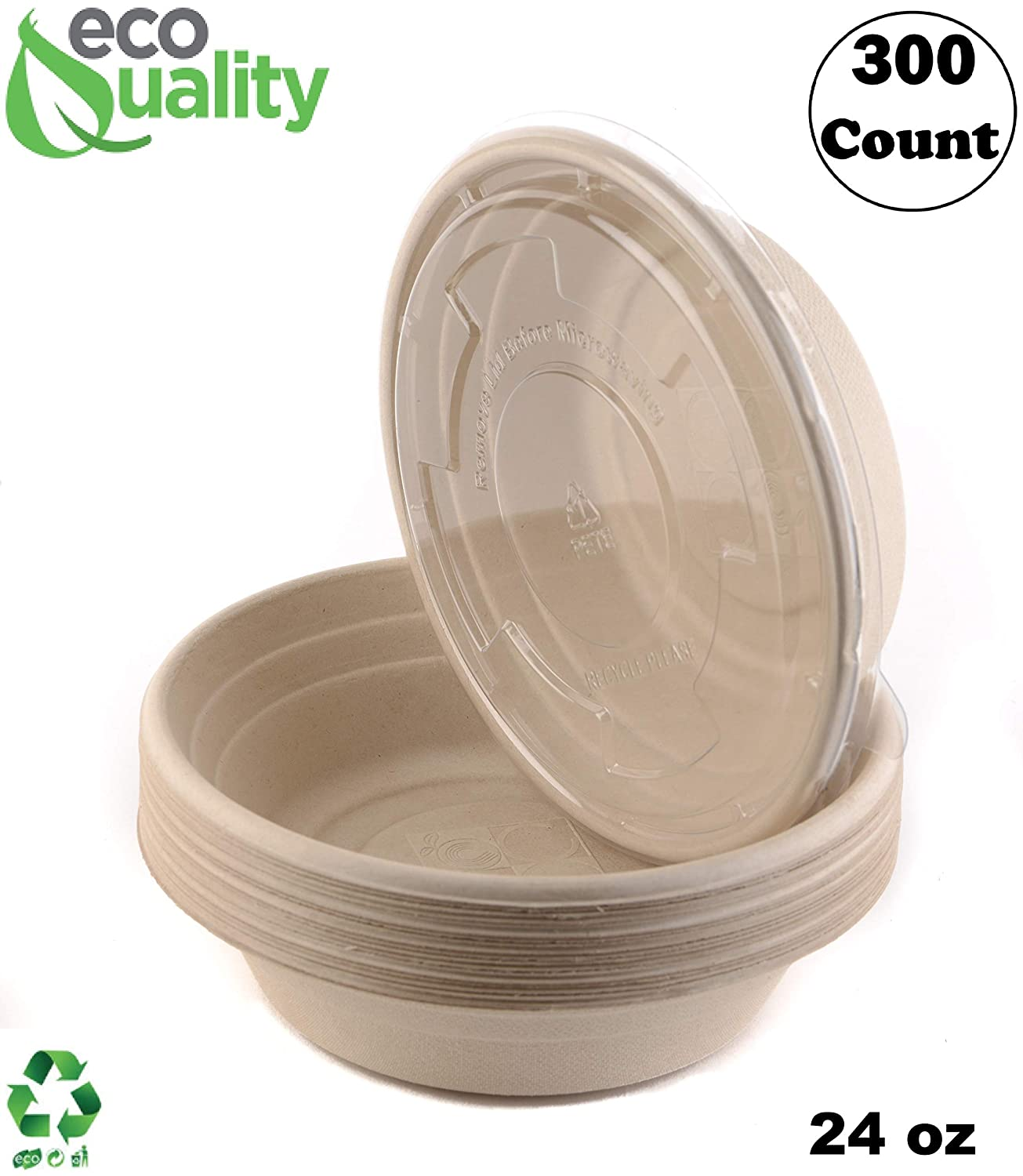 300 Sale special price Count - EcoQuality 24oz Round with Popular standard Lids Disposable Nat Bowls
