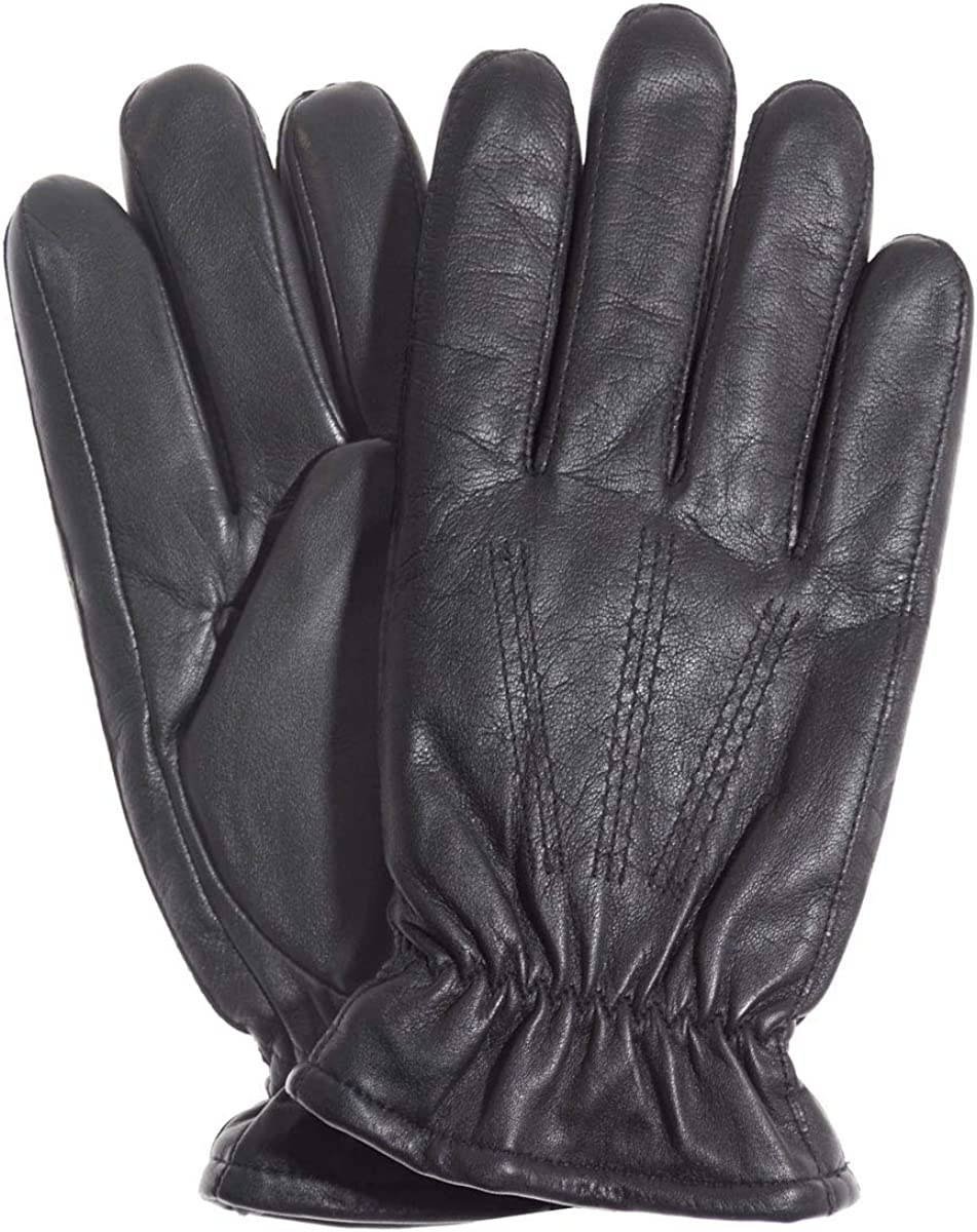 Glissade Men's Sherpa (Polyester) Lined Lambskin Winter Leather Gloves by Pratt and Hart RS3976