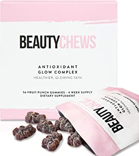Beauty Chews Gummy Antioxidant Supplement | Astaxanthin 8mg and Vitamin E | Boosts Skin Collagen, Reduces Pigmentation, Brightens Skin for Healthy Aging | 4 Week Supply of Sweet Fruit Punch Gummies