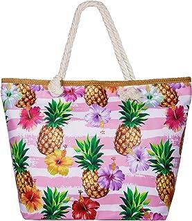 Beach Bag Summer Canvas Shoulder Bag Holiday Travel Large Shoulder Bag with Zip Shopping Bag with Small Handbag Environmental Protection DIY Bag for Girls Ladies Women (Piña)