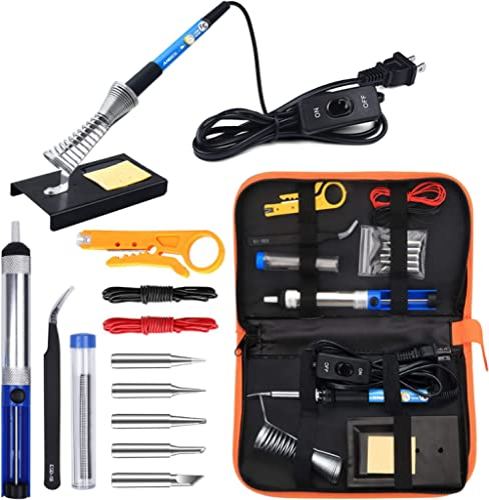 Anbes Soldering Iron Kit Electronics, 60W Adjustable Temperature Welding Tool, 5pcs Soldering Tips, Desoldering Pump,...