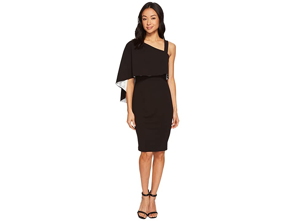 Adrianna Papell Knit Crepe One Shoulder Cape Dress (Black/Ivory) Women