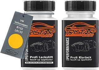 TRISTARcolor Autolack Lackstift Set für VW/Volkswagen R132 / LR132 Postgelb/Maisgelb/Ginstergelb Basislack Klarlack je 50ml