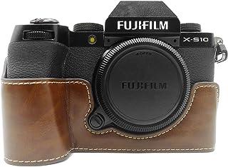 FUJI X-S10 etui, MUZIRI KINOKOO etui ze skóry PU kompatybilne z FUJI X-S10 etui ochronne Fujifilm XS10 etui uchwyt - kawa