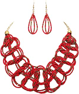 Rosemarie Collections Women's Boho Style Seed Bead Bib Necklace Set