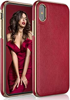 LOHASIC iPhone Xs Max Case for Women, Luxury iPhone Xs Max Leather Case Slim Soft Flexible Bumper Non-Slip Grip Shockproof Anti-Scratch Protective Cover Girly Phone Cases for Apple iPhone XS Max - Red