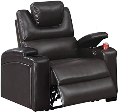 Benjara 43 Inch 1 Sector Arm Leatherette Reclining Chair, Black