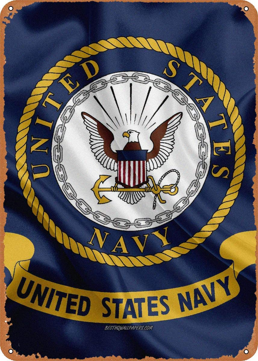 CharcasUS United States Navy 228# Metal Tin Sign Wall Decor Man Cave Military Fan Gift Home Bar Pub Decorative Military Posters 12x8 Inch