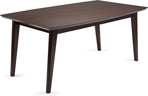 Simpli Home AXCDRPDT Draper Solid Hardwood And 66 Inch X 40 Inch Rectangular Mid Century Modern Dining Table In Java Brown
