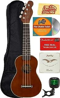Fender Venice Soprano Ukulele - Natural Bundle with Gig Bag, Tuner, and Austin Bazaar Instructional DVD