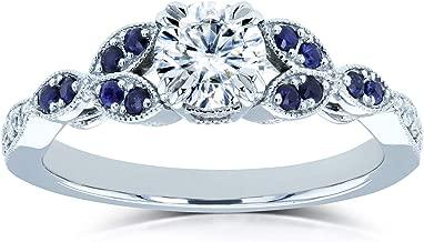 Kobelli Round Moissanite with Blue Sapphire Accents Leafy Engagement Ring 5/8 CTW 14k White Gold (FG/VS, GH/I)