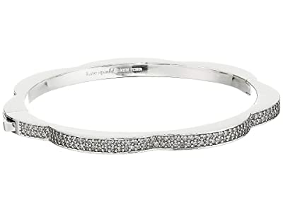 Kate Spade New York Sliced Scallops Pave Hinged Bangle (Clear/Silver) Bracelet