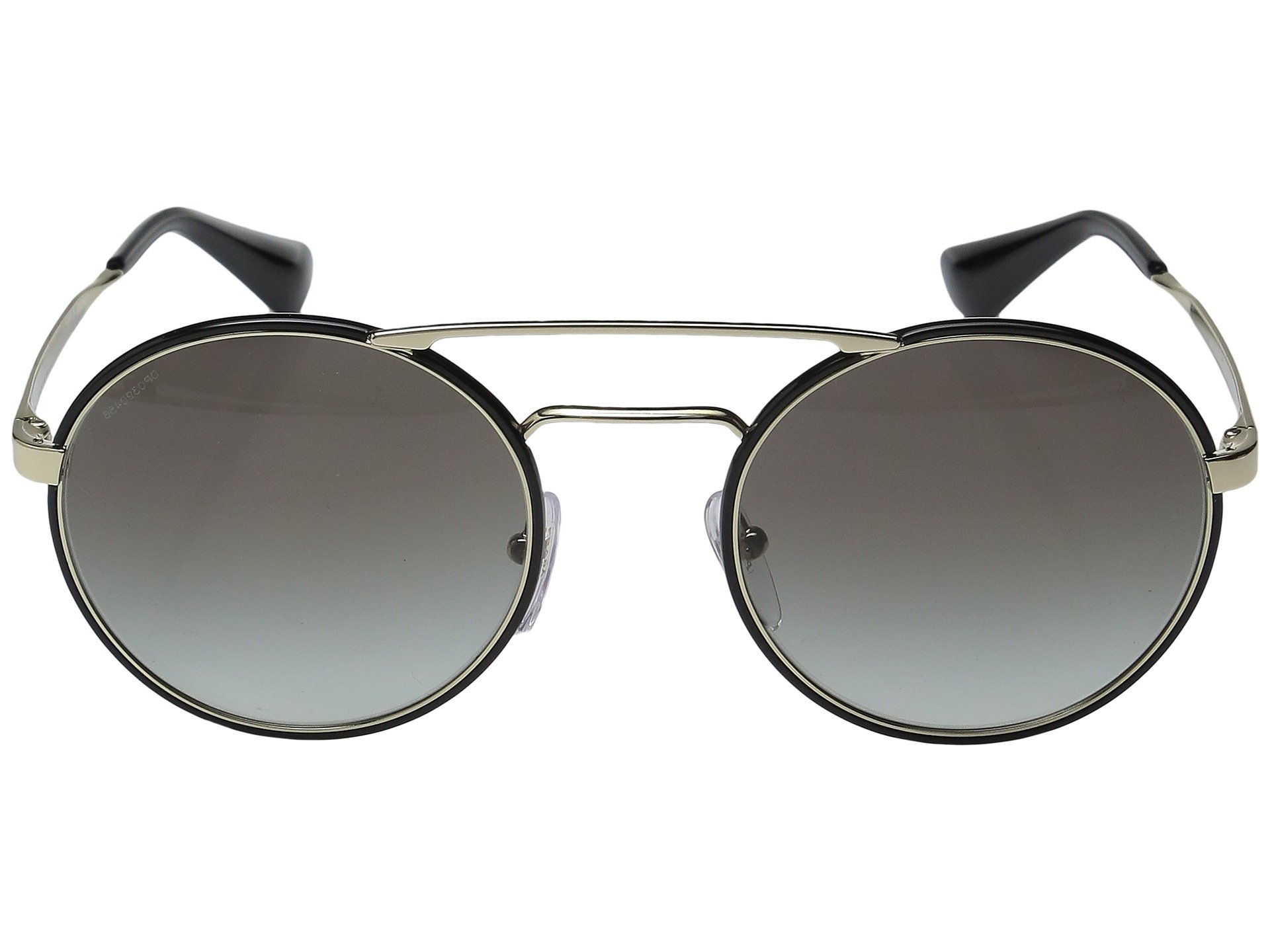 PRADA ROUND BROW-BAR SUNGLASSES, BLACK