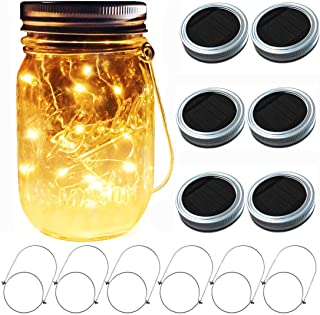 Aubasic Solar Mason Jar Lights, 6 Pack 30 LEDs Fairy Fireflies String Lid Lights, Fits Most Regular Mouth Mason Jars, Best Patio Yard Desktop Party Decor Solar Lanterns (6Pack-20Leds Lids No Jars)