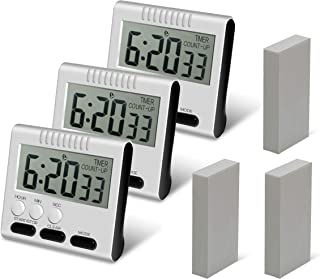 Hour Minute Second Count Up Countdown Digital Kitchen Timer, Big Digits, Loud Alarm, Magnetic Backing, Retractable Stand, ...