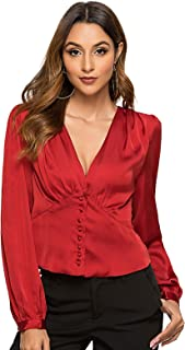 Escalier Women's Vintage Satin Silk Blouse Long Sleeve Fitted Waist Button Down Silky Shirts for Office
