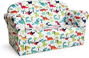 HONEY JOY Kids Sofa, 2-Seater Armrest Chair with Cute Dinosaur Pattern, Toddler Mini Lounger Bed for Bedroom Playroom, Childr