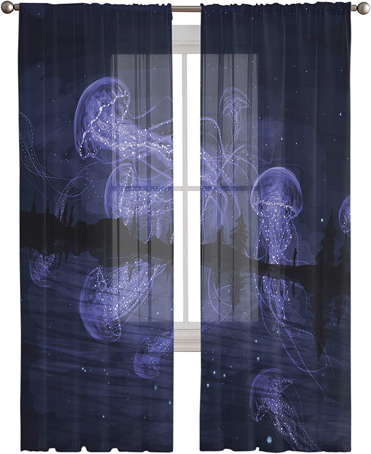 A surprise Ranking TOP17 price is realized Rod Pocket Semi Sheer Curtains Marine Jellyfish Beautiful Animal