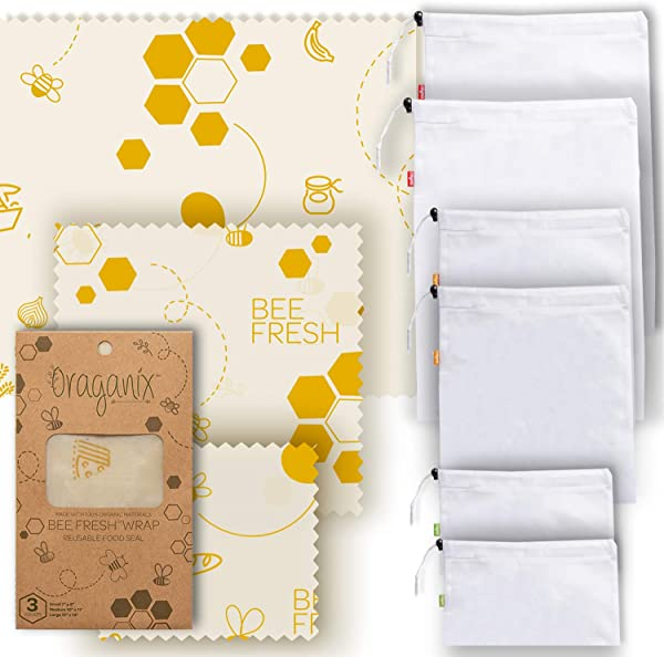 Oraganix Bee Fresh Beeswax Wrap 3 Assorted Bees Wrap Sizes W 6 Mesh Bags Eco Friendly Reusable Food Wrap Plastic Free Food Storage
