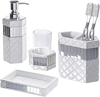 (Quilted Mirror) - Creative Scents Quilted Mirror Bathroom Accessories Set, 4-Piece, Includes Soap Dispenser, Toothbrush H...
