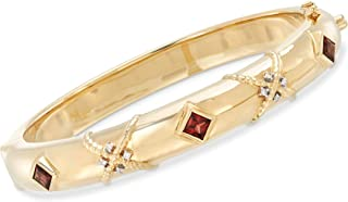 Ross-Simons 1.30 ct. t.w. Garnet Bangle Bracelet in 14kt Yellow Gold With Diamond Accents