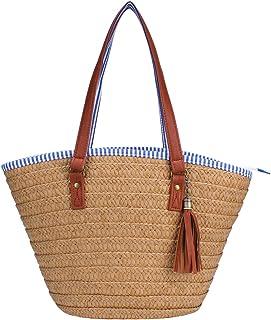 ae1b68f4a5db30 Sornean Straw Beach Bag Handbags Shoulder Bag Tote,Cotton Lining,PU Leather  Handle-