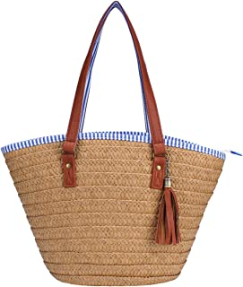 Straw Beach Bag Handbags Shoulder Bag Tote,Cotton Lining,PU Leather Handle-Eco Friendly