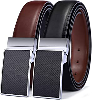 Belt for Men,Bulliant Mens Reversible Leather Belt with Holes, One Belt Reversible for Two Colors