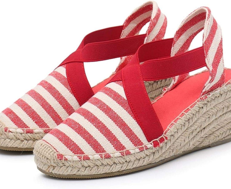 MEIZOKEN Womens Espadrilles Wedge Sandals Fashion Stripes Slip On shoes Closed Toe Ankle Strap Platform Sandal