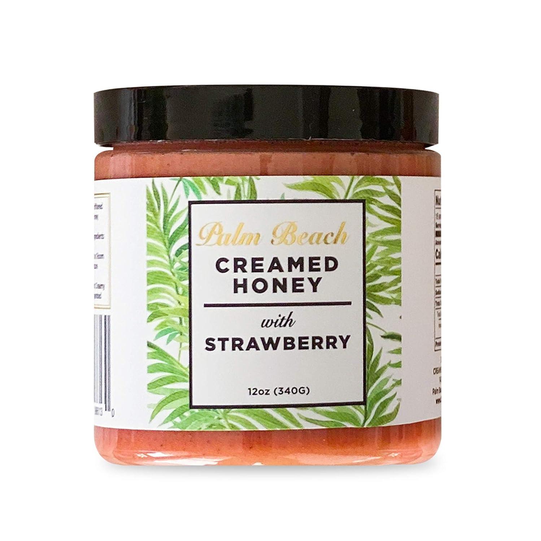 Palm Beach Creamed Honey with Strawberry, Naturally Flavored Wildflower Honey, Small-Batch Honey, Kosher, 12 Ounces