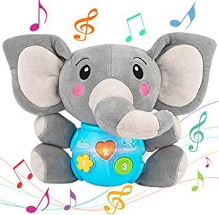 Aitbay Plush Elephant Music Baby Toys 0 3 6 9 12 Months, Cute Stuffed Aminal Light Up Baby Toys Newborn Baby Musical Toys for Infant Babies Boys & Girls Toddlers 0 to 36 Months