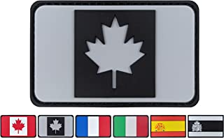 JBCD 3.15x1.97 inch Black and Gray Canada Flag Patch Canadians Patches PVC Rubber Patch Police Patch 3D Pride Moral Patch Clothes Patch Backside Tactical Patches for Military Uniform Tactical Bag