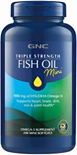 GNC Triple Strength Fish Oil Mini, 240 Softgels, for Joint, Skin, Eye and Heart Health