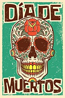Day of The Dead Sugar Skull Spanish Vintage DeArt Print Laminated Dry Erase Sign Poster 12x18