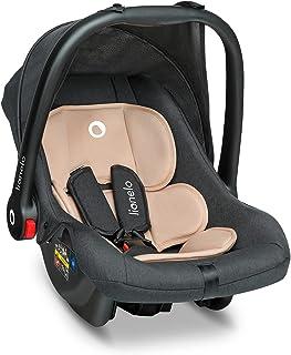 Preis-Leistungs-Sieger Lionelo Noa Plus Auto Kindersitz Babyschalle ab Geburt bis 13 kg Fußabdeckung Sonnendach leichte Konstruktion 3-Punkt-Sicherheitsgurt abnehmbarer Polsterbezug Beige