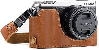 MegaGear Ever Ready Leder Kamera Halbtasche mit Trageriemen kompatibel mit Panasonic Lumix DMC GX80