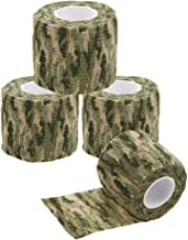 Uning Camouflage Tape, Protective Military Telescopic Camo Tape 5CM x 4.5M Non-Woven Self-Adhesive Camouflage Wrap Fabric Stealth Tape for Outdoor Hunting Gun Cycling Tool (Pack of 4)