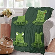 KFUTMD Boys Throw Blanket Funny Muzzy Frog on Lily Pad in Pond Hunting Tasty Fly Expressions Cartoon Animal Bottle Green Sofa Camping Reading Car Travel W71 xL90