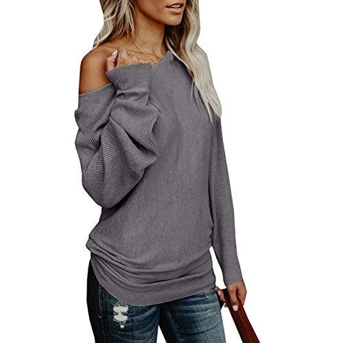 af4e74f67f0 Yknktstc Womens Sweaters Off Shoulder Pullover Sweater Long Sleeve  Oversized Knit Jumper